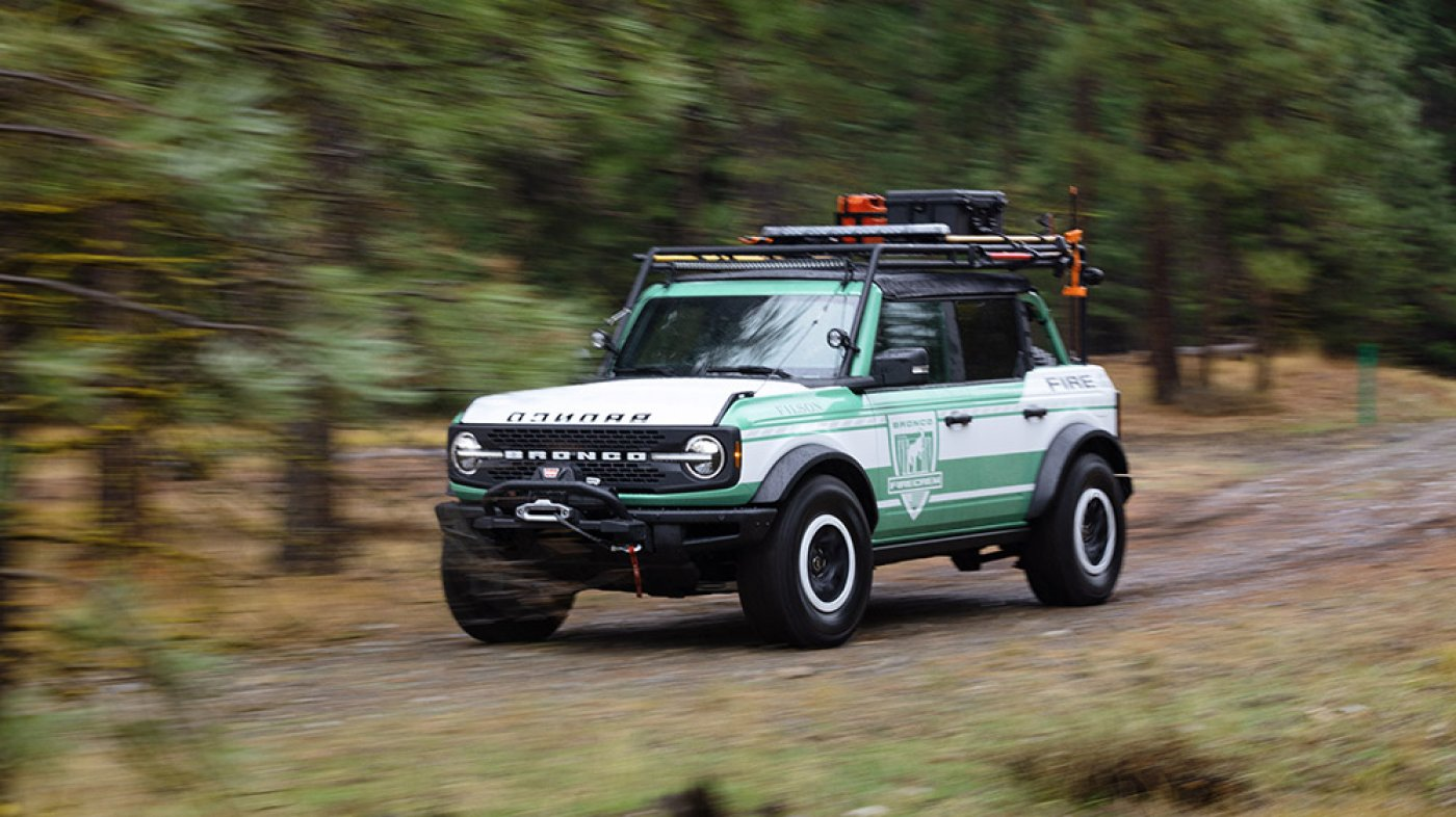 Ford and Filson Honor Firefighers With a Contemporary Mint Green, Blaze-Ready Bronco Thought